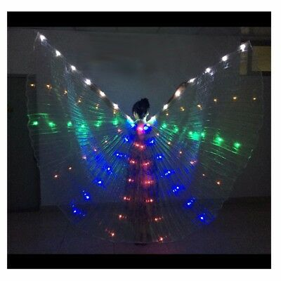 LED isis wings belly dance show glow cosplay light up costume include sticks bag