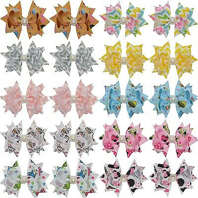 "3"" Multi Color Hair Bow Clip with Rhinestone for Girls Toddlers Teens Women"