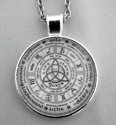 Wheel of the Year, Pagan/Wiccan Calendar, Glass Cabochon Pendant