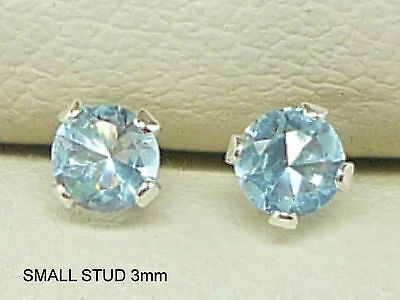 AQUAMARINE 925 STERLING SILVER STUD EARRINGS ROUND 3MM CREATED AQUAMARINE sk1027