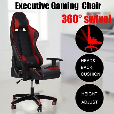 Red Executive Gaming Office Chair Racing Computer PU Leather Mesh Seat Work Race