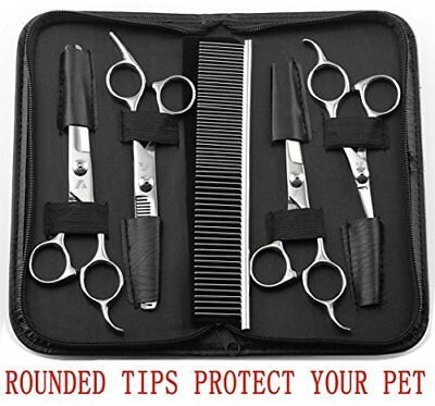 AUGYMER 5 PCS Rounded Tips Pet Grooming Scissors Kit Curved Pet Grooming Shea...