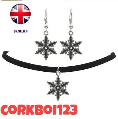 Vintage Snowflake Choker Necklace/drop Earrings Jewellery Sets Party For Women