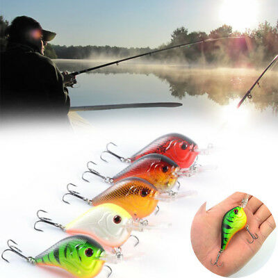5Colors Plastic Fishing Lures Crank Crankbaits Fake Bait Fish Shaped Tackle