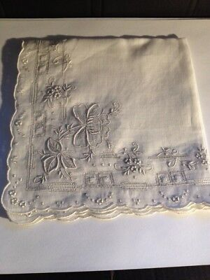 Ladies Embroidered Flower Handkerchief-Wedding,Bridal