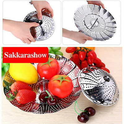 Stainless Steel Folding Steamer Steam Vegetable Basket Mesh Expandable Cooker US