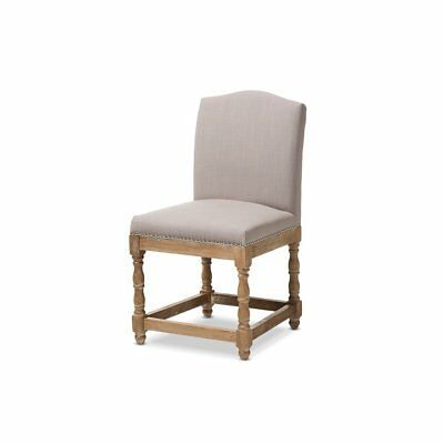 Paige French Vintage Cottage Weathered Oak Finish Wood and Beige Fabric...