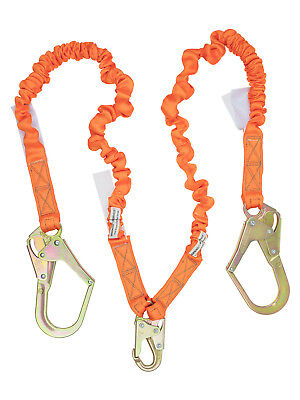 Double Leg Stretch Shock Absorber Lanyard 2 Rebar Hook & 1 Steel Snap Hook C5117