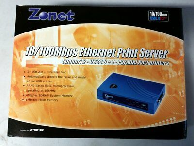 Zonet ZPS2102 Ethernet Network USB and Parallel Printer Server - New In Box