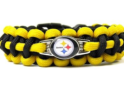Pittsburgh Steelers Paracord Bracelet with NFL Charm Women, Children's + Men