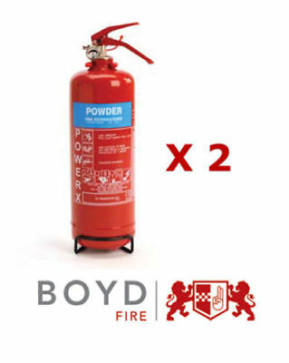 2 X  2KG ABC Powder Fire Extinguishers Thomas Glover For Home Safety Office Car