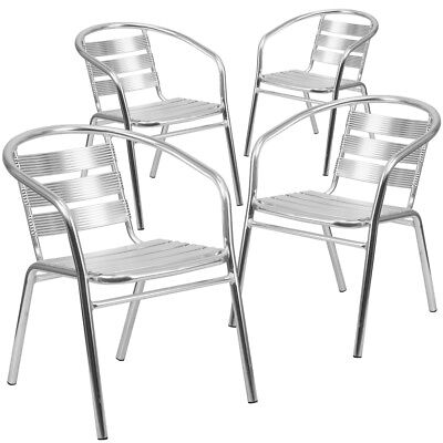 4 Pk. Heavy Duty Aluminum Commercial Indoor-Outdoor Restaurant Stack Chair...
