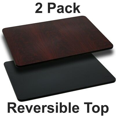 2 Pk. 30'' x 48'' Rectangular Table Top with Black or Mahogany Reversible...