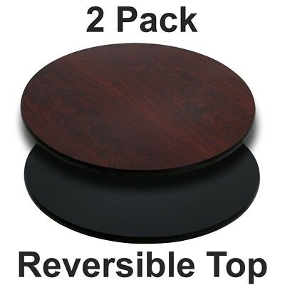 2 Pk. 36'' Round Table Top with Black or Mahogany Reversible Laminate Top
