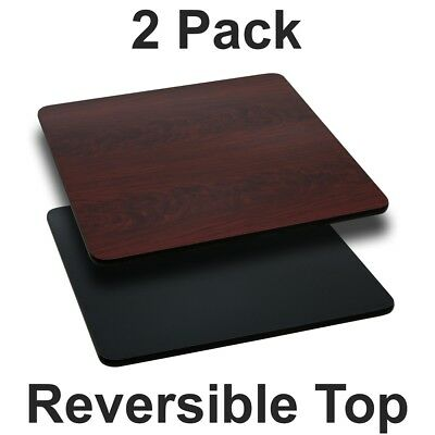 2 Pk. 36'' Square Table Top with Black or Mahogany Reversible Laminate Top