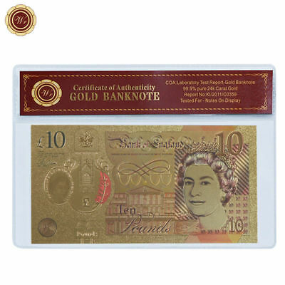 WR UK Great Britain 2017 Latest 24K Color Gold £10 Banknote QE II Gifts for Wife