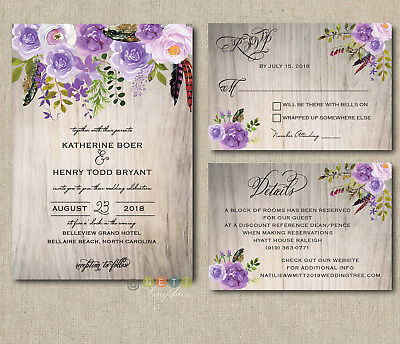 personalized peony lavender lilac floral wedding invitations suite