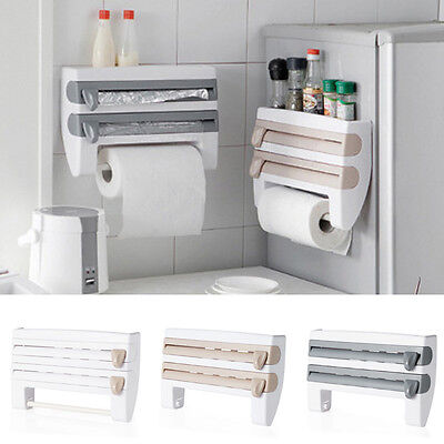 4-in-1 Kitchen Roll Holder Cling Film Kitchen Towel Foil Dispenser Wall Mounted