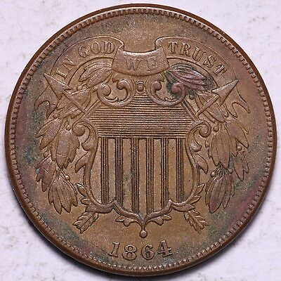 AU+ 1864 2 Cent Piece R7SNB