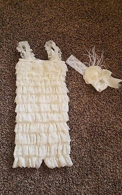 New Baby Girls Petti Lace Romper Ruffle Romper Toddler Lace Romper size large