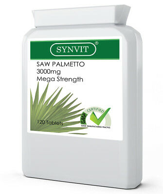 SYNVIT® Saw Palmetto 3000mg - Hair Loss, Prostate, Urinary Tract x 120 Tablets