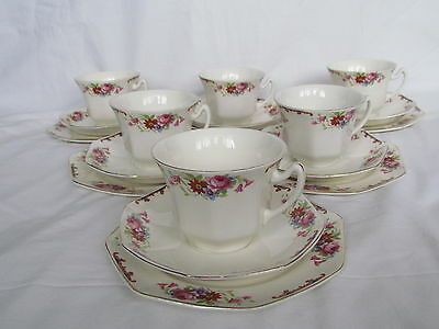 6 X Vintage Britannia Pottery Teacup, Saucer And Side Plate Trios - Scotch Ivory