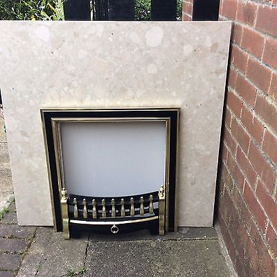 "fireplace back panel. Botticino Marble . Beige.  H 37"" X W37"" With Cut Out"