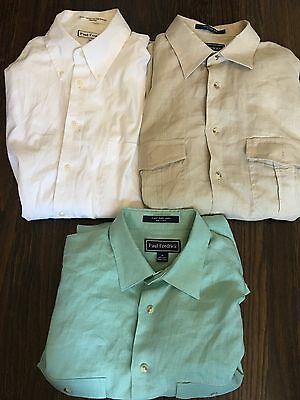 PAUL FREDRICK LOT OF 3 Button Up Shirts Size Medium Excellent Condition