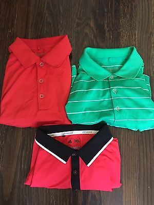 LOT OF 3 NIKE AND ADIDAS Men's Golf Shirts Size S-M Excellent Condition