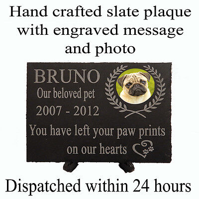"""Personalised 8x6""""slate pet memorial/grave plaque with photo/date/name and quote"""
