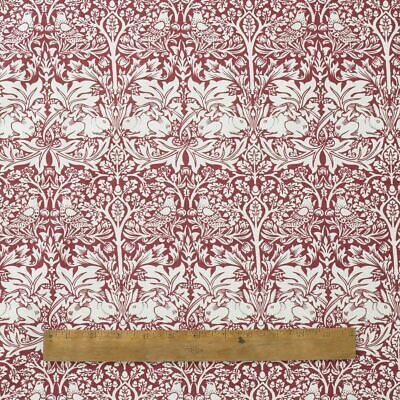 William Morris Red Brother Rabbit Heavy Cotton Floral Fabric By The Half Metre