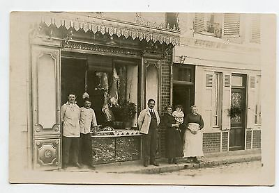 Carte-Photo . Devanture de commerce . BOUCHERIE . Front of trade. Butchery