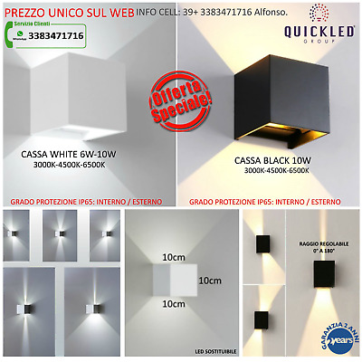 APPLIQUE LED CUBO 7w / 11w - Bianco / Nero Quickled - INTERNO / ESTERNO