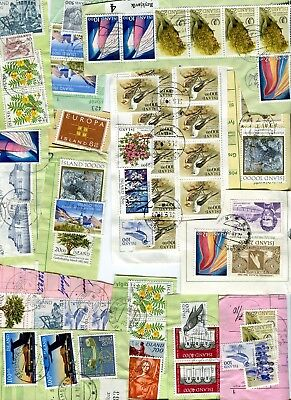 Iceland Fine Lot of Kiloware on Parcel Cards Clippings  - FREE SHIPPING
