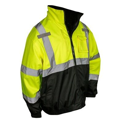 Radians Class 3 Reflective Safety Bomber Jacket with Zip Out Liner, Hi-Vis Green