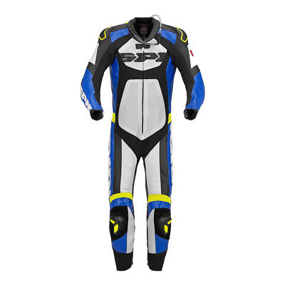 Spidi Tronik Wind Pro Motorcycle One Piece Leather Track Suit Blue White