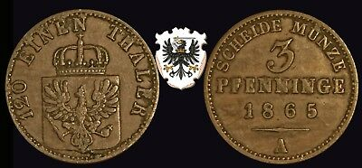 GERMAN :- Prussia,  1865A Copper 3 Pfenninge (1/120th. Thaler) coin. AP6191