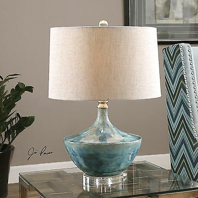 """New 23"""" Blue Tie Dyed Ceramic Glaze Table Lamp Linen Shade Crystal Detail Light"""