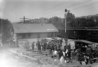 BUSY DAY - ROWEN (KERN COUNTY) CALIFORNIA DEPOT - 1920 Tibbitts Film Negative