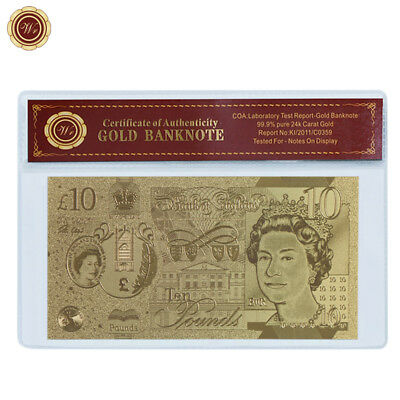 WR Gold Great Britain 10 Pounds 2017 New QEII Jane Austen Polymer Note Best Gift