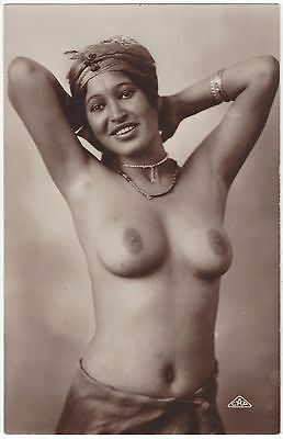 1920 Ethnic NUDE Photograph - Pretty Arab with Large Breasts, Head Scarf