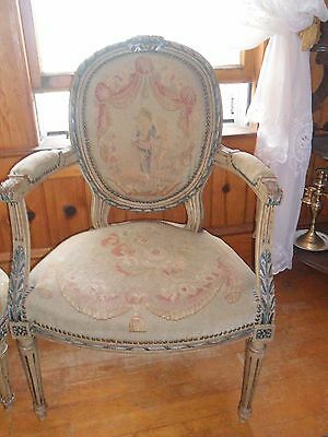 Antique Vintage Authentic French 19Th C Aubusson Arm Chair Louis Xv Style