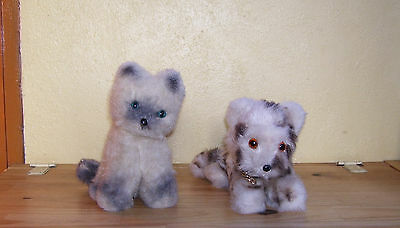 Lot de 2 Peluches Doudou Chats vintage