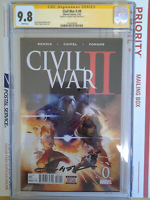 Marvel Comics Civil War Ii #0 Cgc Ss 9.8 Signed By Oliver Coipel