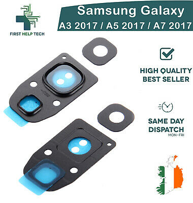 For Samsung Galaxy A3 A5 A7 2017 Rear Back Camera Lens Cover Glass Frame Black