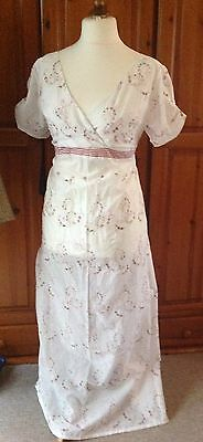 Ladies Regency Jane Austen Dress Sz 16/18 Pink Rose Stripe Cotton Bust 42""