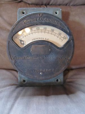 Antique Weston Ammeter~Model 156~AC Amp 0-200~Patented Aug. 5, 1890~Great Shape!