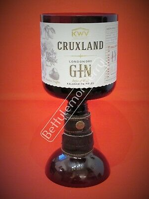Cruxland Gin Large Stemmed Chalice Glass / Vase - 100% Recycled - Unique Gift!