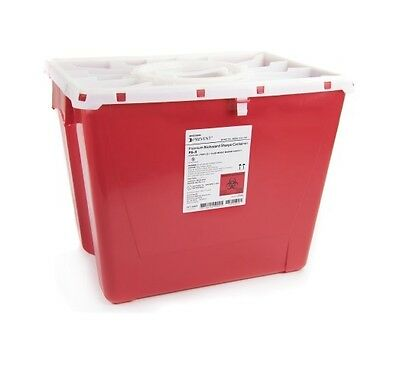 9 x Sharps Container 8 Gallon 2266 Prevent 2-Piece Red Base Horizontal Entry Lid
