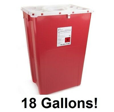 7 x Sharps Container 18 Gallon 2268 Prevent 2-Piece Red Base Locking Lid - CASE!